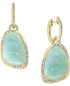 EFFY® Jade (17 x 12mm) & Diamond (3/8 ct. t.w.) Drop Earrings in 14k Gold