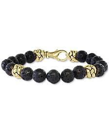 EFFY® Men's Lava Bead Bracelet in 18k Gold-Plated Sterling Silver
