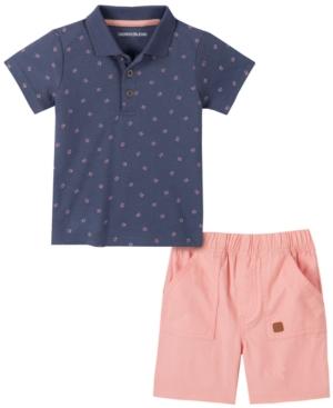 Calvin Klein Baby Boys 2-Pc. Printed Polo & Shorts Set