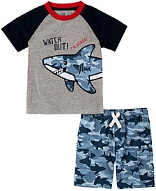 Baby Boys 2-Pc. Shark T-Shirt & Printed Shorts Set