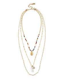 Mixed Bead Gold-Tone Layered Necklace