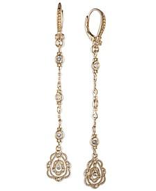 Gold-Tone Crystal Lace Linear Drop Earrings