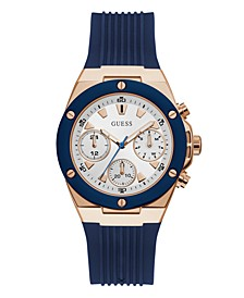 Blue and Rose Gold-Tone Multifunction Silicone Watch 39mm