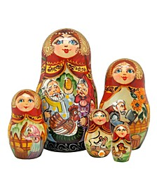 5 Piece Golden Egg Russian Matryoshka Nested Doll Set