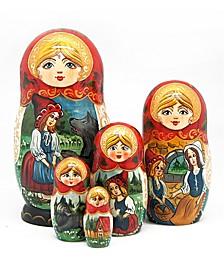 5 Piece Riding Hood Russian Matryoshka Nested Doll Set