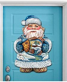 Gold Fish Santa Christmas Door Hanger