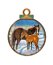 Horses Ball Wooden Ornaments, Set of 2