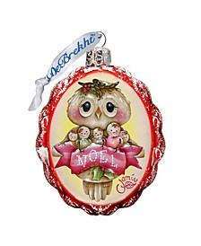 Noel Owl Keepsake Hand Painted Glass Ornament