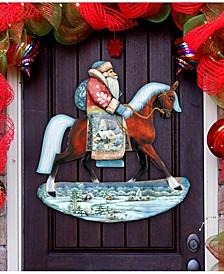 Horsey Santa Christmas Door Hanger