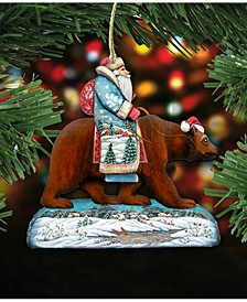 Santa on Grizzly Bear Wooden Christmas Ornament Set of 2