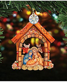 Village Nativity Wooden Christmas Ornament Set of 2
