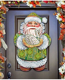 Celtic Santa Irish Christmas Door Hanger