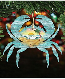 Crab Scenic Wooden Christmas Ornament Set of 2