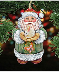 Bunny Santa Wooden Christmas Ornament Set of 2