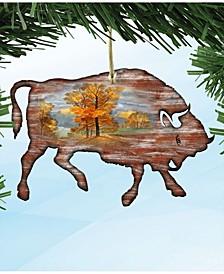Buffalo Wooden Christmas Ornament Set of 2