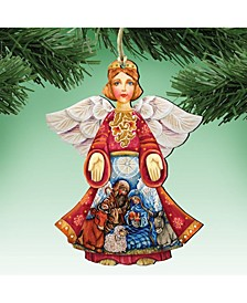 Nativity Christmas Angel Wooden Christmas Ornament Set of 2