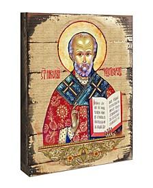 "Icon Saint Nicholas Wall Art on Wood 8"""