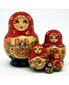 Kitty 5 Piece Russian Matryoshka Wooden Nested Dolls Set