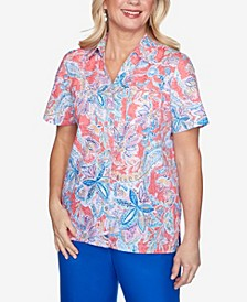 Plus Size Floral Burnout Short Sleeve Woven Shirt