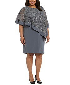 Plus Size Sequined Poncho Dress
