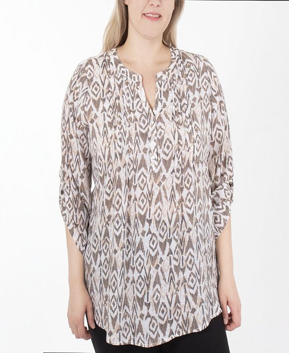 NY Collection 3/4 Sleeve Y Neck Blouse
