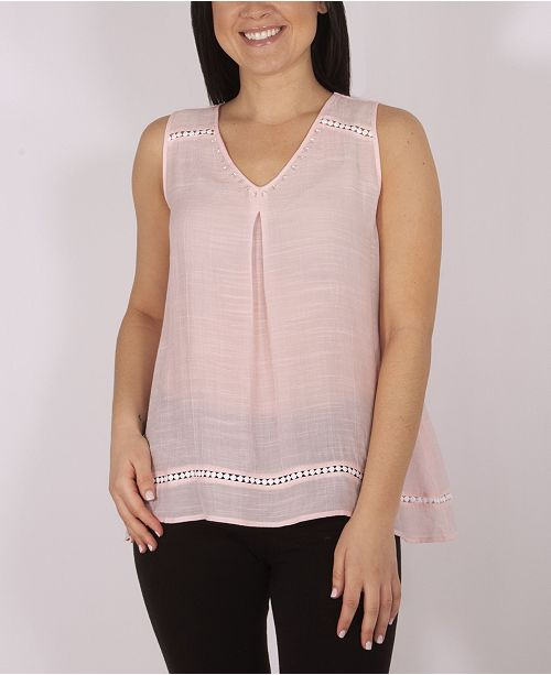 NY Collection Sleeve V-Neck Blouse with Beads and Trim