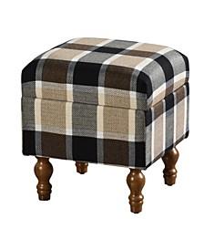 Upholstered Stripe Design Short Storage Bench