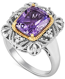 Amethyst (2-7/8 ct. t.w.) & Diamond (1/10 ct. t.w.) Two-Tone Filigree Ring in Sterling Silver & 14k Gold