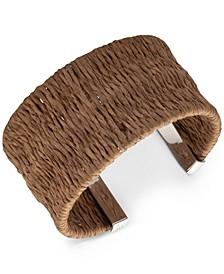 Silver-Tone Raffia-Wrapped Cuff Bracelet