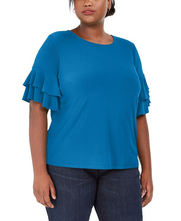 INC International Concepts INC Plus Size Ruffle-Sleeve Top, Created for Macy's