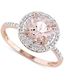 Morganite (1-1/6 ct. t.w.) & Diamond (1/10 ct. t.w.) Double Halo Ring in 10k Rose Gold
