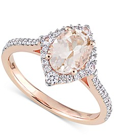 Morganite (1-1/7 ct. t.w.), White Sapphire (1/5 ct. t.w.) & Diamond (1/4 ct. t.w.) Ring in 14k Rose Gold