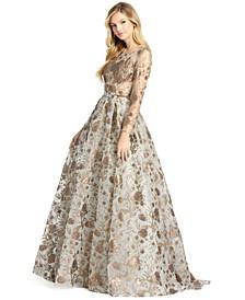 Long-Sleeve Embellished Ballgown