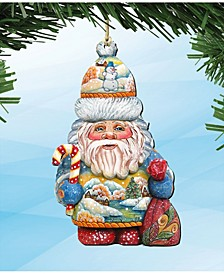 Whimsical Winter Wonders Sant Wooden Ornaments, Set of 2