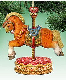 Classic Carousel Horse Wooden Christmas Ornament, Set of 2