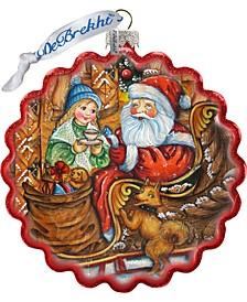 Santa Arrival Wreath Glass Ornament