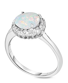 Birthstone Round Cubic Zirconia Halo Solitaire Ring in Fine Silver Plate