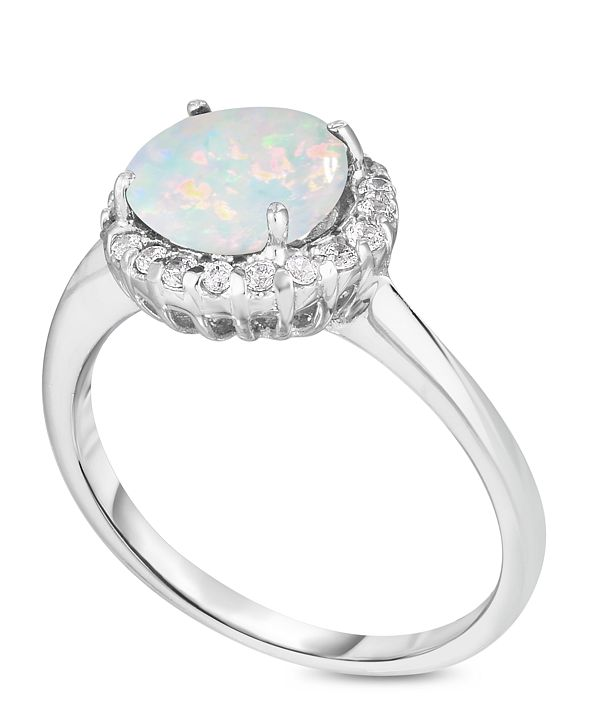 Macy's Birthstone Round Cubic Zirconia Halo Solitaire Ring in Fine Silver Plate