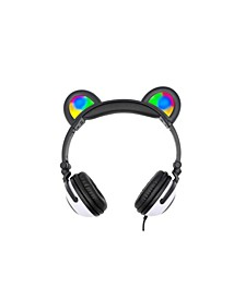 Panda Led Light-Up Wired Headphones