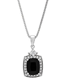 """Onyx (7mm) & Lab-Created White Sapphire (3/8 ct. t.w.) 18"""" Pendant Necklace in Sterling Silver"""