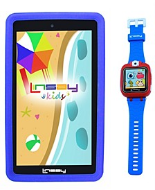 "7"" Kids Blue Funny Tablet Android 10 with 1.5 Kids Smart Watch Cam Selfie Blue"