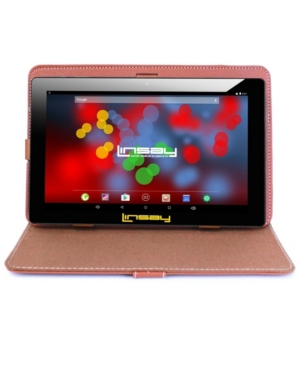 "Linsay 10.1"" 1280 x 800 Ips Screen Quad Core 2 Gb Ram Tablet 16 Gb Android 6.0 with Leather Case"