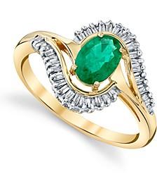 Emerald (3/4 ct. t.w.) & Diamond (1/3 ct. t.w.) Swirl Statement Ring in 14k Gold