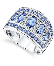Tanzanite (2-1/10 ct. t.w.) & Diamond (1/4 ct. t.w) Statement Ring in 14k White Gold