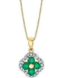 "Emerald (3/4 ct. t.w.) & Diamond (1/5 ct. t.w.) Clover 18"" Pendant Necklace in 14k Gold"