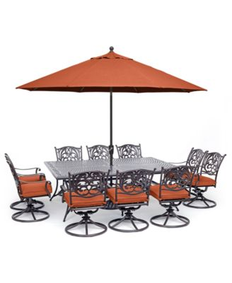 """Chateau Outdoor Aluminum 11-Pc. Dining Set (84"""" X 60"""" Dining Table & 10 Swivel Rockers), Created for Macy's"""