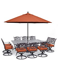 "Chateau Outdoor Aluminum 11-Pc. Dining Set (84"" X 60"" Dining Table & 10 Swivel Rockers), Created for Macy's"