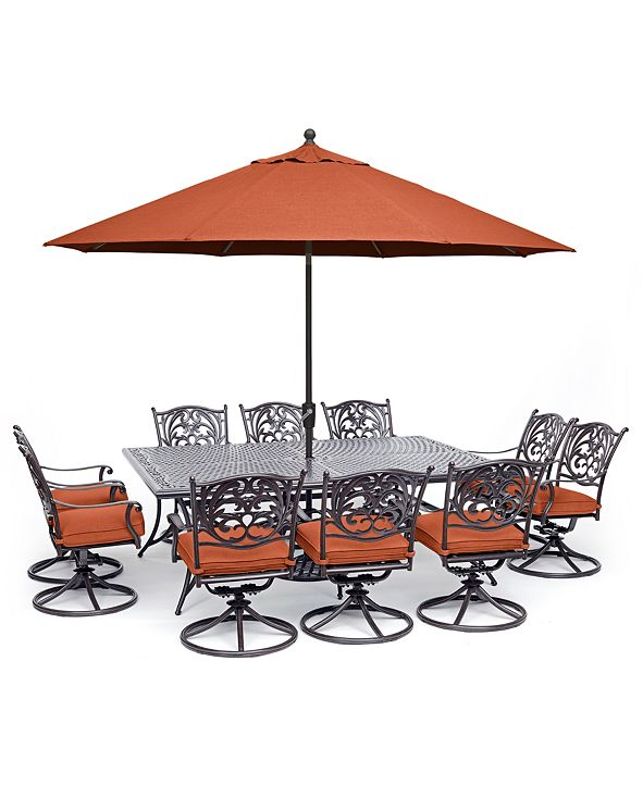 """Furniture Chateau Outdoor Aluminum 11-Pc. Dining Set (84"""" X 60"""" Dining Table & 10 Swivel Rockers), Created for Macy's"""