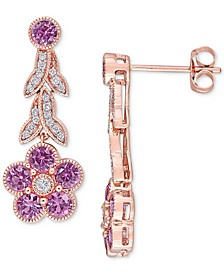 Pink Sapphire (1-5/8 ct. t.w.) & Diamond (1/6 ct. t.w.) Flower Drop Earrings in 14k Rose Gold