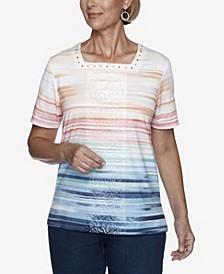 Short Sleeve Ombre Stripe Knit Top